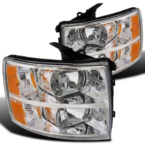 Spec-D Tuning 2LH-SIV07-RS Chevy Silverado 1500/2500/3500 HD Chrome Headlights Pair Left+Right (09 Chevy Silverado 2500 Grill compare prices)