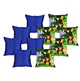 meSleep 5 Pc Jungle Digital Cushion Cover and 5 Pc Blue Quilted Cushion Cover