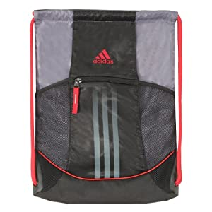 adidas Alliance Sackpack, Black/Lead/Light Scarlet, One Size Fits All