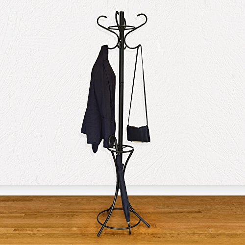 GrayBunny GB-6808 Metal Coat Rack, Hat Stand, Umbrella Holder, Hall Tree, Black, For Home or Office 3