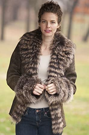 Women's Allura Shearling Sheepskin Jacket with Raccoon Fur Trim, DISTRESSED/NATURAL, Size XSMALL (0)