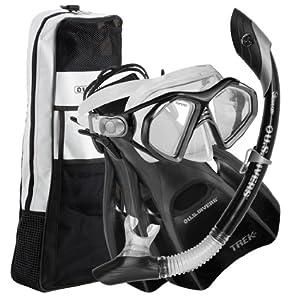 US Divers Admiral LX Island DryTrek Snorkel Set2012,Black,Large