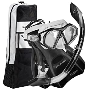 US Divers Admiral LX Island DryTrek Snorkel Set2012,Black,Large