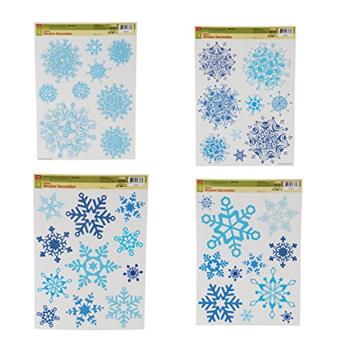 "Snowflake Window Clings, 4 Different Sheets (16.5"" x 11.8"")"