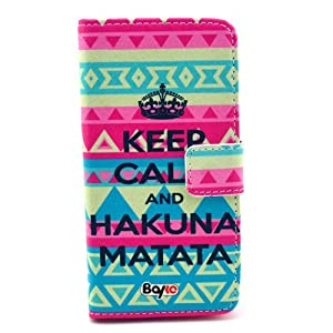 Bayke Brand / Sony Xperia Z1 Compact Mini (MINI ONLY) D5503 M51w Fashion PU Leather Wallet Flip Protective Skin Case with Stand with Credit Card Slots & Holder (Aztec Tribal Keep Calm and Hakuna Matata Print)