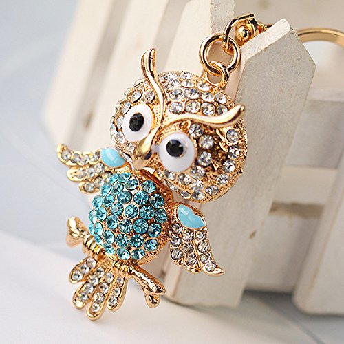 Hooshion® Lovely Fashion Diamond Crystal Rhinestone Keychain Key Chain Purse Handbag Bag Decoration Gift (Owl Blue)