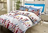 Bombay Dyeing Metro Cotton Double Bedsheet with 2 Pillow Covers - Red and Blue