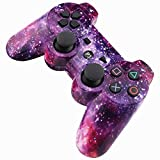 Locd Bluetooth Wireless Dualshock Controller for PS3 with 2 - Luminous and 2 - Cat Thumb Stick Caps Cover, Purple Starry Sky