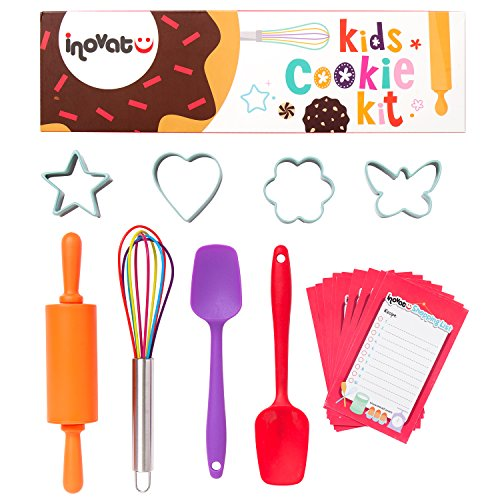 Kids Cookie Kit - 8 Pieces - Colorful Gift Bix - Ideal Kids Kitchen Set - Whisk, Cookie Cutters, Silicone Spatulas, Roller - Children Baking Set - Bonus Shopping List Coupon