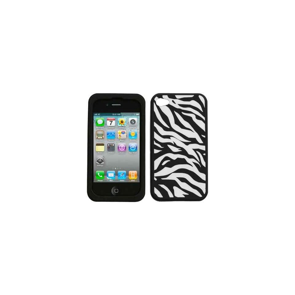 White with Black Zebra Strip Design Soft Silicone Skin Gel Cover Case for Apple Iphone 4 4g 4th Gen + Lcd Screen Guard + Microfiber Pouch Bag
