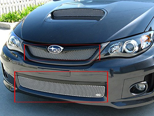 2011-2013 SUBARU IMPREZA WRX STI - GRILLE UPPER and LOWER (Silver Finish) (2014 Wrx Grill compare prices)