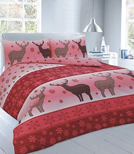 Set Copripiumino con federe natalizio Babbo Natale Renna Testa di cervo biancheria, Fawn Red, Super King