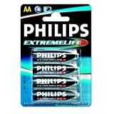 Philips ExtremeLife AA Batteries (4 Pack)