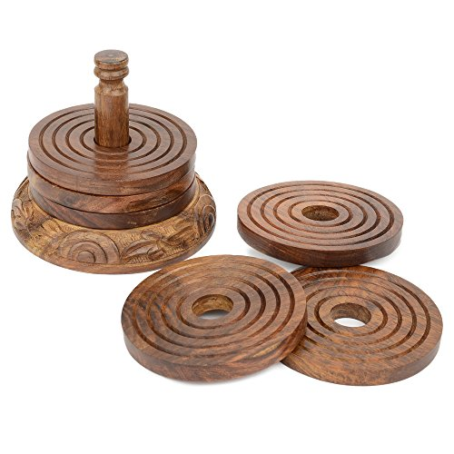 Rusticity Cool Wood Coaster Set of 6 with Holder for beer and other drinks - Tower of Hanoi design | Handmade | (3.75x3.75 in) (Cool Dining Set compare prices)