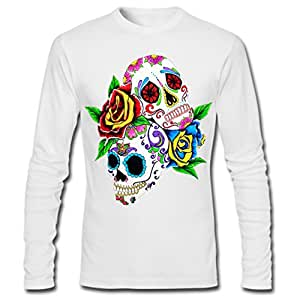 Customized Men Classic Cotton Long Sleeve T-shirt Day of the Dead Sugar Skull Printed