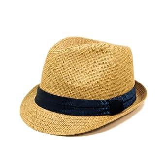 Classic Tan Fedora Straw Hat, Navy Band at Amazon Women's Clothing
