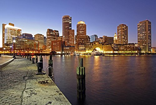 Abstract Canvas Wall Art Boston Fan Pier And Financial District Photograph Print On Canvas For Home Decoration Modern Painting Wall Decor One Piece Canvas Art Set,Stretched And Framed, Ready To Hang,12*16Inch back-81097