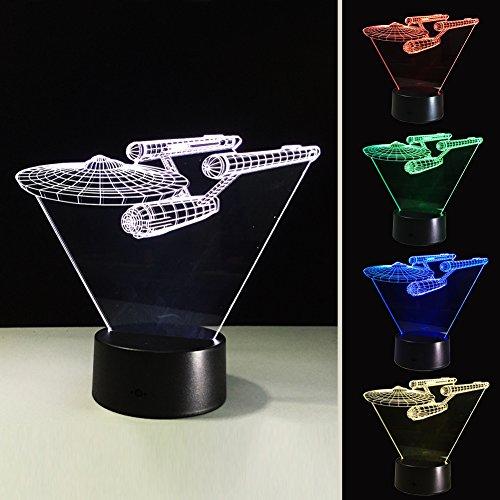 3D Tabella Della Luce di Notte Della Lampada, Star Trek Navi da Guerra Optical Illusion Star Wars Touch Control LED Visivo Atmosfera Lampada, 7 Cambiamento di Colore di Ricarica USB