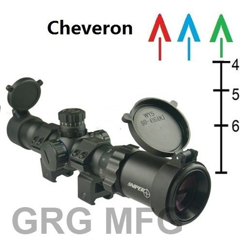 Sniper Compact 1-4X28 Long Eye Relief 30Mm Scope Chevron Reticle Premium Scope Rings Included