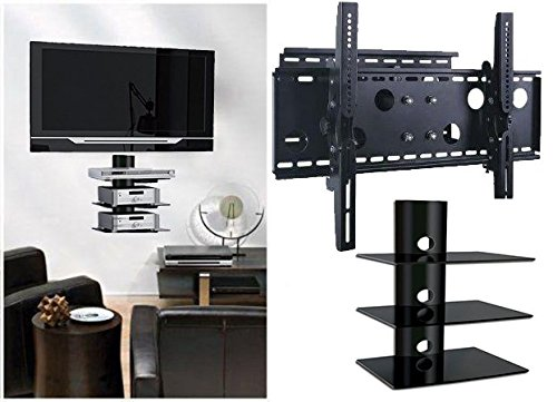2xhome - NEW TV Wall Mount Bracket (Single Arm) & Triple Shelf Package - Secure Low Profile Cantilever LED LCD Plasma Smart 3D WiFi Flat Panel Screen Monitor Moniter Display Large Displays - Long Swing Out Single Arm Extending Extendible Adjusting Adjustable - 3 Tier Under TV Tempered Glass Floating Hanging Shelves Shelving Unit Rack Tower Set Bundle - Full Motion 15 degree degrees Tilt (Panasonic Tv 35 Inch compare prices)