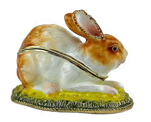 Rabbit Mom and Baby Bunny Jewelry/pill Box with Hinged Lid, Hand-crafted Metal and Hand-painted High-gloss Enamel with Swarovski Crystal Jeweled Accents.