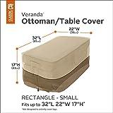 Classic Accessories 71992 Veranda Rectangular Patio Ottoman/Side Table Cover, Small