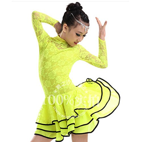 New Girls' Party Dancing Dress Latin Costume long sleeve Lace,110cm-120cm,Yellow