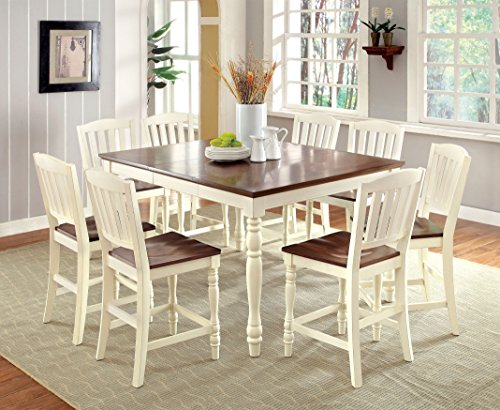 Furniture of America Pauline 9-Piece Cottage Style Pub Dining Set (D Piece Kitchen Table Set compare prices)
