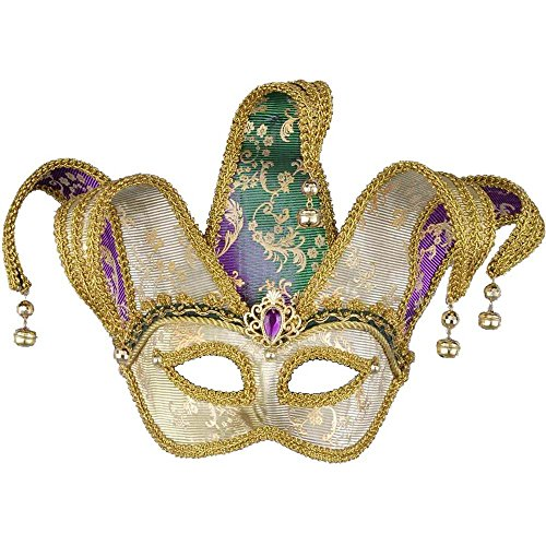 Color Changing Jester Mardi Gras Eye Mask - One Size