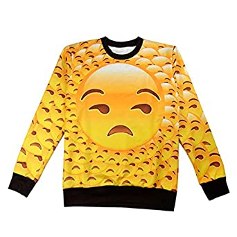 Funny Emoji 3D Swag Clothing Unisex Hipster Sweater L: Clothing