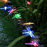 InnooLight Solar Dragonfly String Lights 21 Feet 30 LED Outdoor Christmas Trees Fairy Light, Decoration Lights for Garden, Patio, Proch, Deck, Wedding, Party and Holiday Decorations, Multi Color