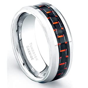 8 mm Tungsten Carbide Ring Red And Black Carbon Fiber Comfort Fit