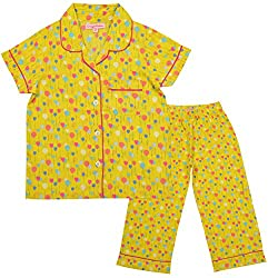 CrayonFlakes Kids Wear for Girls 100% Cotton Printed Knit Night Suit Sleep Set