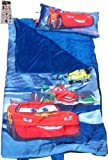Disney Pixar Cars Sleeping Bag with Pillow - High Quality (30 X 54) & Stickers Set (4 X 6- 2 Shts $4 Value) - Lightning Mcqueen Sleeping Bag for Boys, Camping Supplies for Kids, Sleeping Bags for Kids May Be Used As Toddler Nap Mat for Preschool or Daycare or Kindergarten Slumber Bed