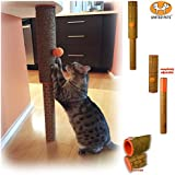 Coconut Fiber All Natural Ultimate Cat Scratching Post Pole United Pets Adjustable for Under Table