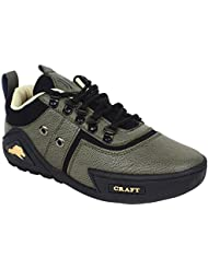 Nuke Woodcraft Green And Black Synthetic Leather Casual Shoes For Men