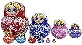 New 10pcs Beautiful Wooden Russian Nesting Wishing Dolls Matryoshk Traditional