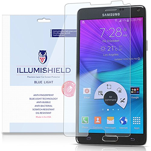 Illumishield - Samsung Galaxy Note 4 Screen Protector With Hd Blue Light Uv Filter And Lifetime Replacement Warranty / Premium High Definition Clear Film / Reduces Eye Fatigue And Eye Strain - Anti- Fingerprint / Anti-Bubble / Anti-Bacterial Shield - [2-P