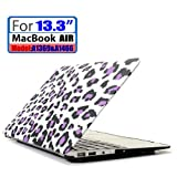 LEIMI ® AIR 13-inch Rubberized Hard Matte Case Cover for Apple MacBook Air 13.3 (Models: A1369 and A1466) (New- Purple Leopard)