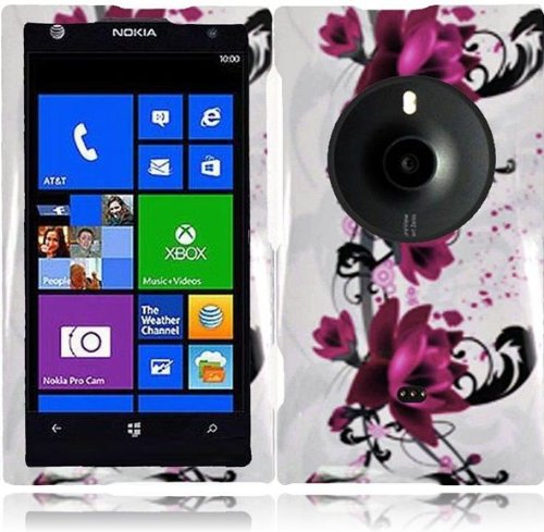 Lf Purple Lily Designer Hard Case Cover, Lf Stylus Pen & Lf Screen Wiper Bundle Accessory For At&T Nokia Lumia Elvis 1020