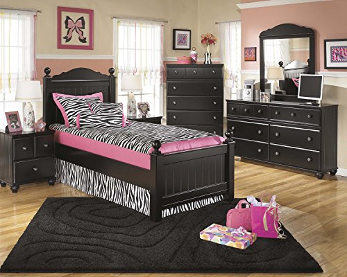 Jaidyn Youth Wood Poster Bed Room Set In Rich Black Finish, Twin Bed, Dresser, Mirror, Nightstand, Chest