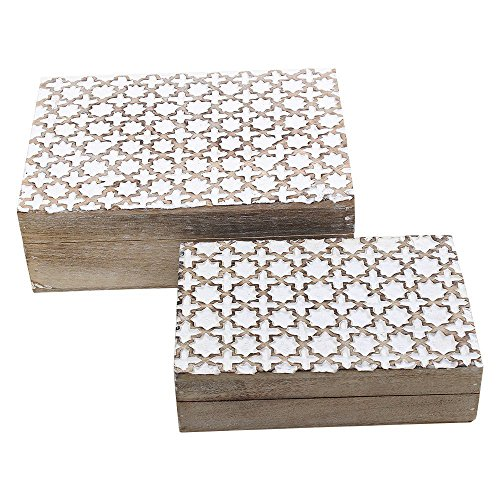 Shabby Chic Decor - Set of 2 Wooden Jewelry Trinket Keepsake Boxes Multipurpose Storage Chest Organizers with White Distressed Finish