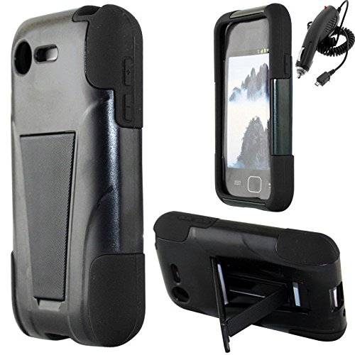Lg Optimus Fuel L34C Black Hybrid Kickstand Cover Snap On Hard Rugged Case Cell Phone Shield Protector Shell + Free Car Charger From [Accessory Library]