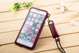 iphone6 4.7インチ 用 ネックストラップ 付き PUレザーケース イヤホンケーブル収納可 (ワインレッド)