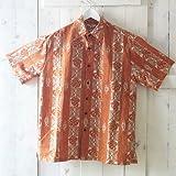 【Hilo Hattie】メンズアロハシャツ モンステラ ライトブラウンS
