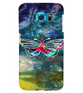 PrintVisa Colorful Butterfly 3D Hard Polycarbonate Designer Back Case Cover for Samsung Galaxy S6 Edge