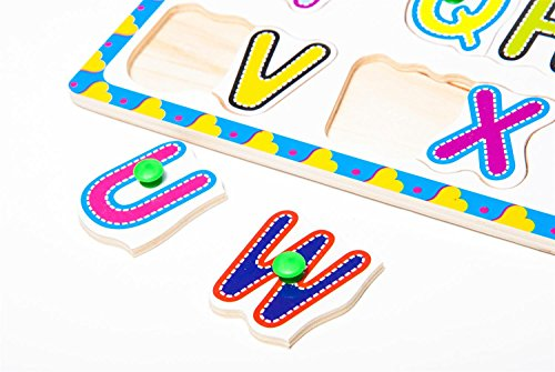Apriller Deluxe Classic Wooden Alphabet And Numbers Pegged