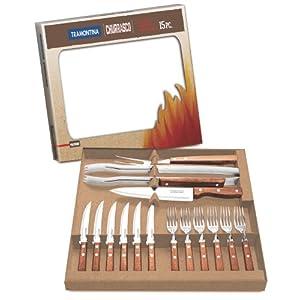 TRAMONTINA バーベキュー道具 15点セット(ステーキナイフ×6本、フォーク×6本、トング、ナイフ、カービングフォーク)