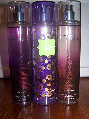 3 Piece Bath & Body Works Fine Fragrance Mist Gift Set- London Tulips Raspberry Tea, Dark Kiss, And Twilight Woods 8 Fl Oz Each (Assorted)