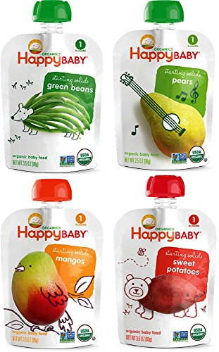 Happy Baby Organic Baby Food Stage 1 Starting Solids Variety Pack, 16/3.5 oz (Plum Baby Food Variety compare prices)